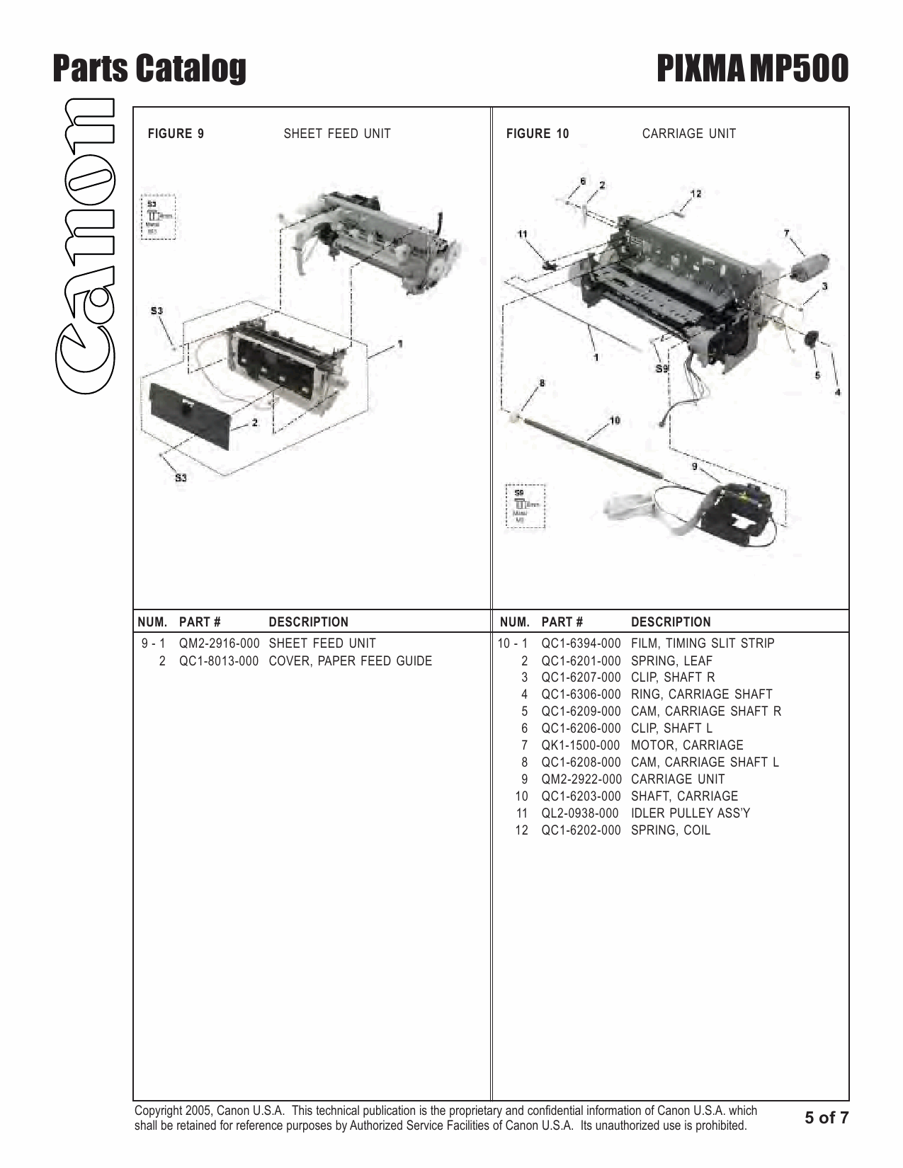 Canon PIXMA MP500 Parts Catalog Manual-6
